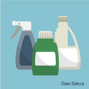 bottles of cleaning supplies